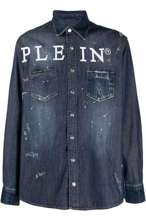 Philipp Plein Logo button-down denim shirt