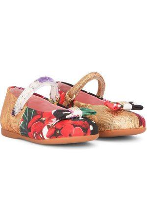 Dolce & Gabbana Menina Sabrinas - Patchwork bow-detail ballerina shoes