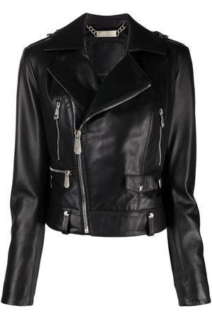 Philipp Plein Senhora Casacos de Pele - Leather biker jacket