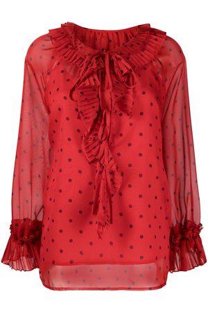P.a.r.o.s.h. Senhora Blusas - Ruffled polka dot blouse