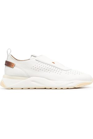 santoni Low-top perforated leather sneakers