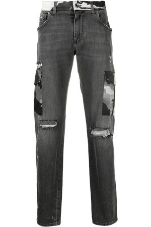 Dolce & Gabbana Homem Bootcut & Boca-de-sino - Ripped camouflage-detail bootcut jeans