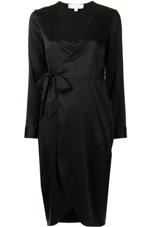 FLEUR DU MAL Wrap silk midi robe