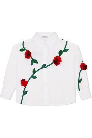 Dolce & Gabbana Menina Camisas - Rose-embroidered shirt