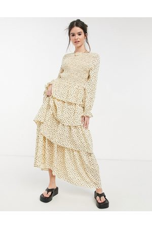 Lost Ink Long sleeve maxi dress with tiered skirt and shirred bodice-Neutral