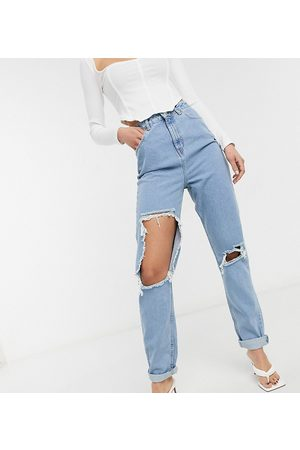 ASOS ASOS DESIGN Tall high rise 'original' mom in midwash blue with rips