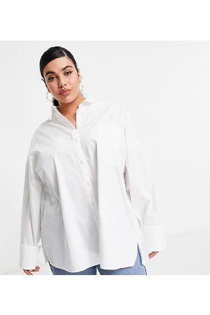 ASOS ASOS DESIGN Curve long sleeve oversized dad shirt in cotton in white