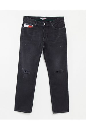 Tommy Hilfiger Ethan relaxed straight fit jeans in distressed black wash