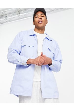 Mennace Aftermath double pocket denim shirt in blue