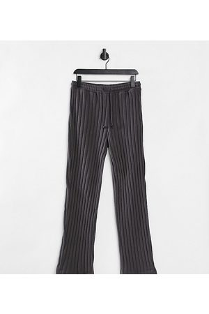 COLLUSION Joggers - Unisex wide leg joggers in jersey knit in charcoal co-ord-Grey