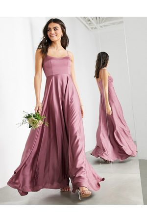 ASOS Satin cami maxi dress with square neck in orchid-Purple