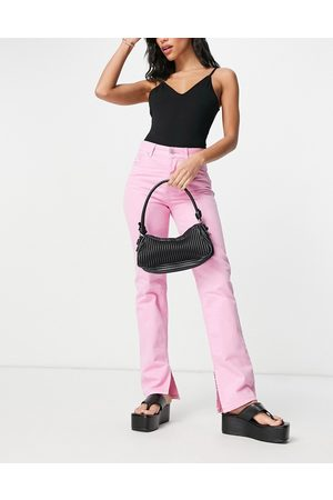 ASOS Mid rise '90s' straight leg jeans in hot pink with split hem