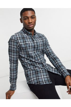 ASOS Slim fit check shirt in teal-Green