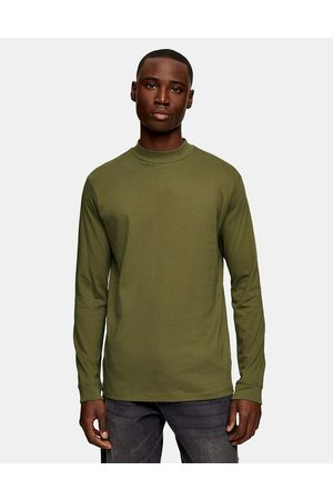 Topman Turtle neck long sleeve t-shirt in olive-Green