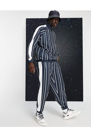 ASOS Co-ord oversized joggers in pin stripe with side panel in black & white