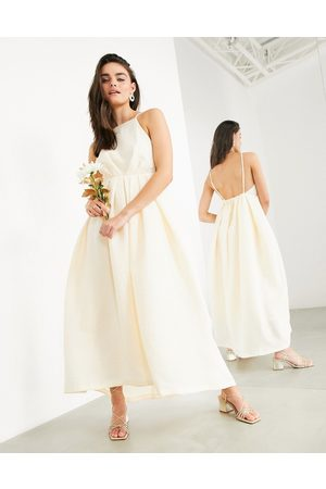ASOS Clementine halter wedding dress with pleat detail and low back-Pink
