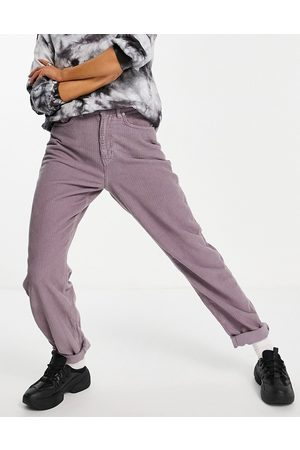 ASOS High rise 'slouchy' mom jeans in lilac cord-Purple