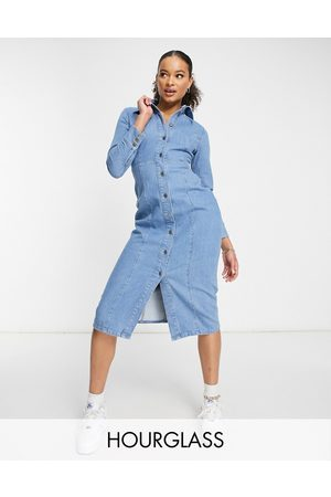 ASOS Mulher Vestidos Casual - Hourglass denim fitted seamed midi dress in midwash-Blue