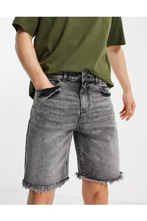 New Look Original fit denim shorts with frayed hem in washed black