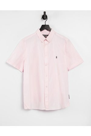 French Connection Homem Manga curta - Short sleeve oxford shirt in pink