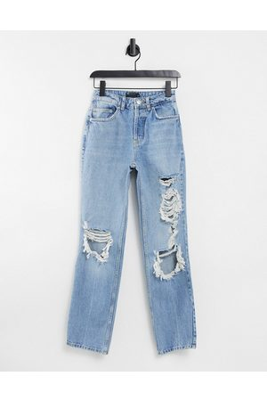 ASOS DESIGN Hourglass mid rise '90s' straight leg jean in lightwash with extreme rips-Blue