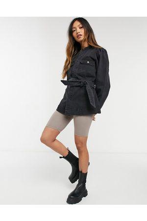 Vero Moda Senhora Casacos - Belted denim jacket with drop sleeves in black