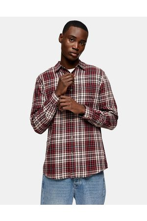 Topman Check slim shirt in burgundy and pink-Multi