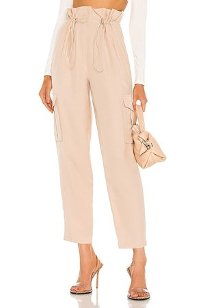 h:ours Shaye Paperbag Cargo Pant in - Ivory. Size L (also in XXS, XS, S, M, XL).