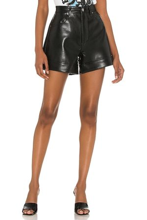 AGOLDE Recycled Leather Angled Hem Short in - Black. Size 23 (also in 24, 25, 26, 27, 28, 29, 30, 31, 32, 33, 34).