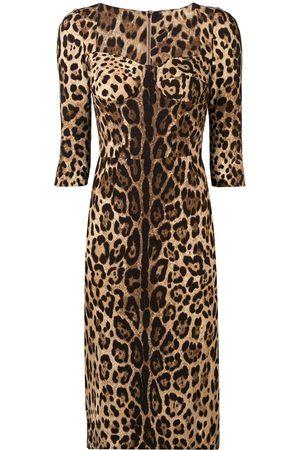 Dolce & Gabbana Senhora Vestidos de Festa - Fitted leopard print dress
