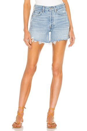 AGOLDE Parker Long Short in - Blue. Size 23 (also in 24, 25, 26, 27, 28, 29, 30, 31, 32, 34).