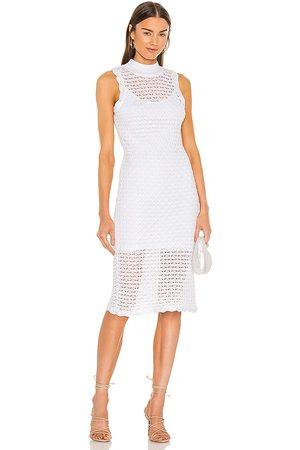 525 America Sleeveless Midi Dress in - White. Size L (also in XS, S, M, XL).