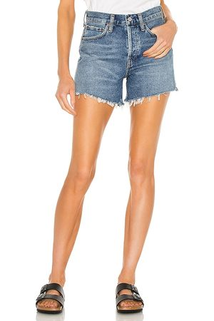 AGOLDE Parker Long Short in - Blue. Size 23 (also in 24, 25, 26, 27, 28, 29, 30, 31, 32, 33, 34).