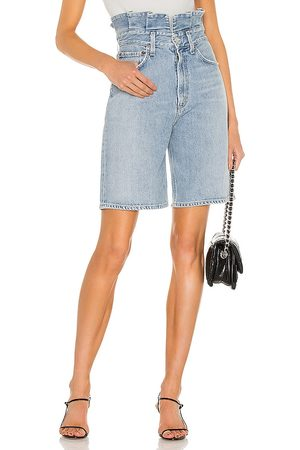 AGOLDE Lettuce Waistband Short in - Blue. Size 23 (also in 24, 25, 26, 27, 28, 29, 30, 31).
