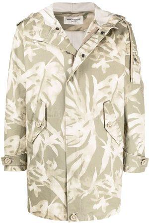 Saint Laurent Leaf pattern hooded parka