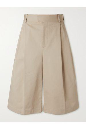 Bottega Veneta Homem Calções - Wide-Leg Pleated Cotton-Twill Shorts