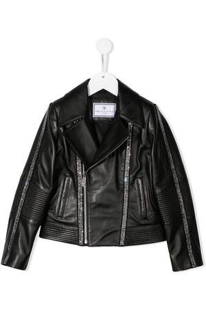 Philipp Plein Logo zipped biker jacket