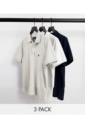 Abercrombie & Fitch 3 pack icon logo pique polo in navy/grey/white-Multi