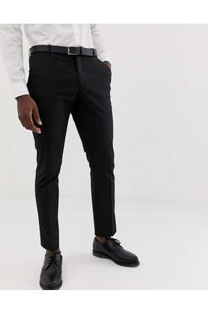 Selected Slim fit stretch suit trousers in black