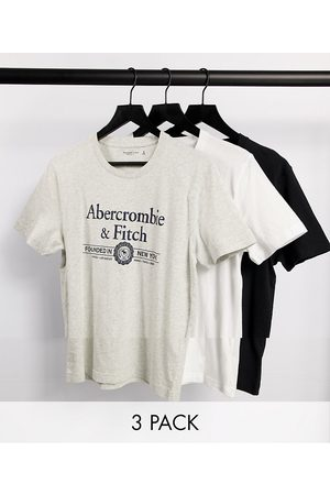 Abercrombie & Fitch 3 pack large front logo t-shirt in white/grey marl/black-Multi