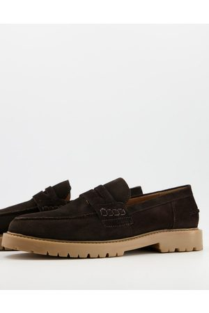 H by Hudson Radcliff chunky loafers in brown suede