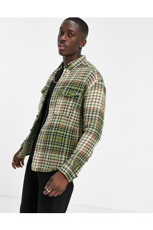 ASOS 90s oversized textured check in green with chest pockets