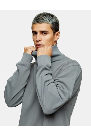 Topman High neck sweat in washed grey