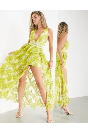ASOS EDITION Cutwork embroidered palm dress with maxi overlay-Yellow