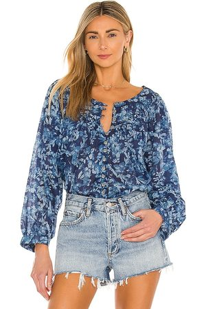Free People Cool Meadow Printed Top in - Blue. Size L (also in XS, S, M).