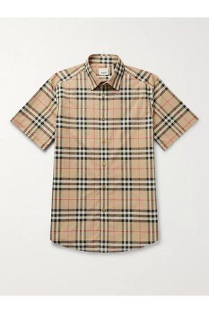 Burberry Homem Casual - Checked Cotton-Poplin Shirt