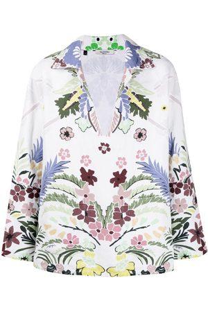 VALENTINO Arazzo-print split-neck shirt