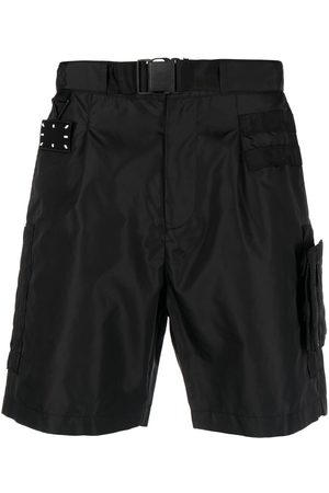McQ Logo-patch buckled shorts