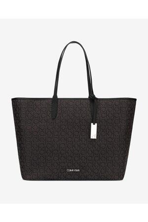 Calvin Klein Jacquard Shopper Handbag Black Brown