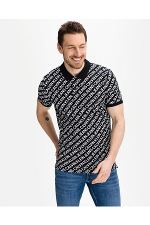 Calvin Klein Diagonal Logo Polo T-shirt Black